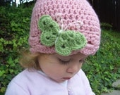 Child size 4T - preteen butterfly hat pink with green apple