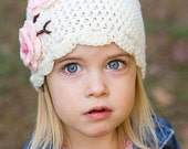 Toddler to Child size Cherry Blossom beanie hat in cream