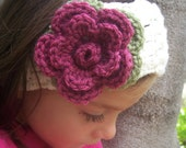 Child size flower headband cream with dark pink and green or you design