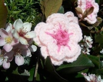Three cherry blossom crocheted flowers