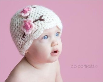 Infant Cherry Blossom hat and booties set in cream