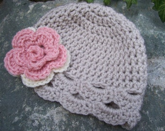 Infant size flower hat in linen with pink and cream