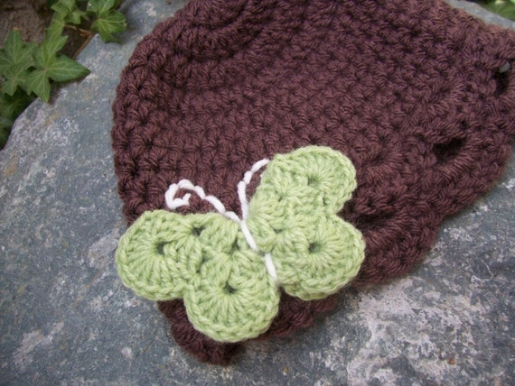 Clearance Infant size 9-12 months butterfly hat chocolate brown with green apple