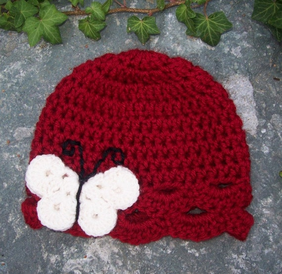 Child size butterfly hat cranberry red with cream and black
