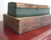 Antique Wooden Box Small Green and Red with Beautiful Patina