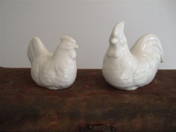 Vintage Chicken Figurines White Collectibles Too Cute