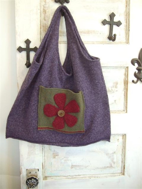 Felted Wool Bag Jilly Jean Upcycled and Sweet Extra Large Sweater Tote