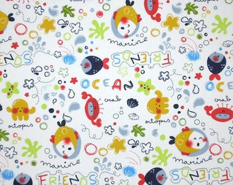 Kid's Sea Life Cotton Fabric, Children's Marine Friends Seaside Cotton Fabric