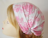Pink Flower Ornament Calico Hair Scarf ConVeRtIbLe   Headband Hair Covering - Head covering hair accessories veil scarf head wrap covering