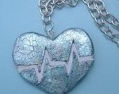 Blue Heart Necklace : Heartbeat REVERSIBLE Mosaic Tile