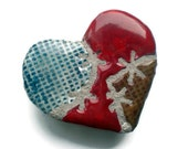 Patched Heart Mosaic Tile Clay Brooch