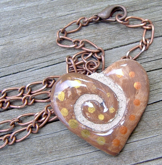 Clay Heart Pendant : Spiral Swirl Polka Dotted Reversible Necklace