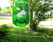 Bright Green Glass Bottle Wind Chime, Recycled, Eco Friendly Hand Painted