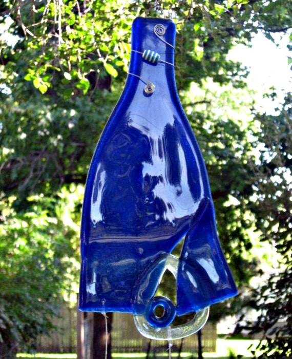 Recycled Wine Bottle Wind Chime A Little Abstract A Lot of Blue