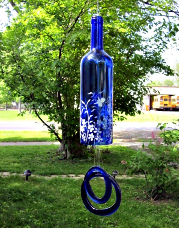 Recycled blue wine bottle garden wind chimes bell style garden for How to cut the bottom off a wine bottle easily