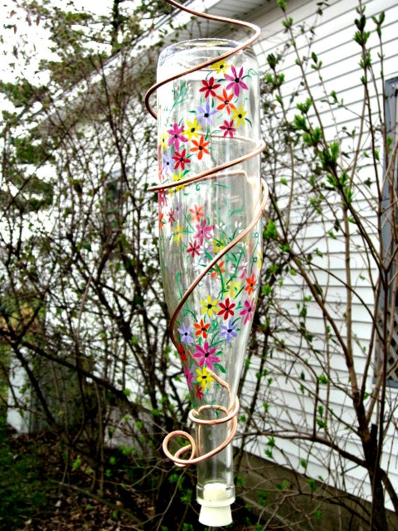 Recycled Wine Bottle Hummingbird Clear Bottle with Painted Spring Flowers