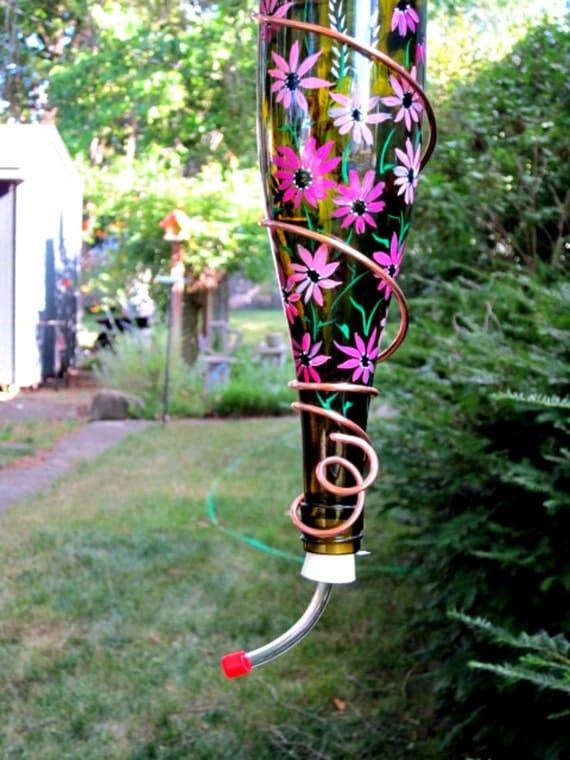 Wine Bottle Hummingbird Feeder Amber Bottle Pretty in Pink