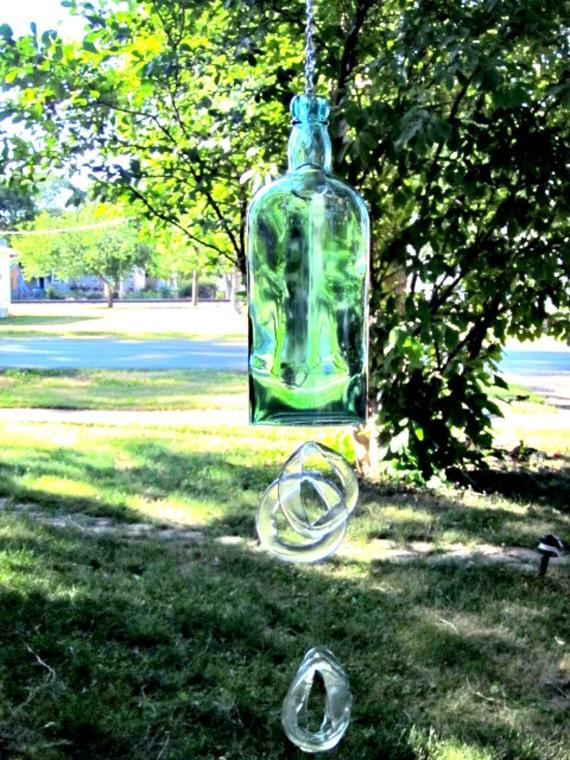 Aqua Glass Bottle Recycled Beautiful Wind Chime