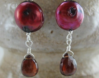 Custom Coin Pearl and Semi-Precious Gemstone Dangle Earrings by Screaming Peacock Jewelry