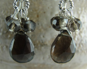 Petite Cluster Smokey Quartz Earrings from Screaming Peacock Jewelry