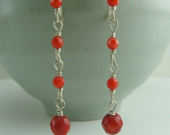 Faceted Coral Cascade Earrings by Screaming Peacock Jewelry