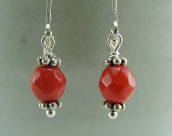 Coral Petite Drops Earrings by Screaming Peacock Jewelry