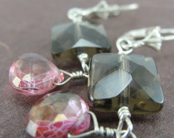 Smokey Quartz and Mystic Pink Quartz Dangle Earrings by Screaming Peacock Jewelry