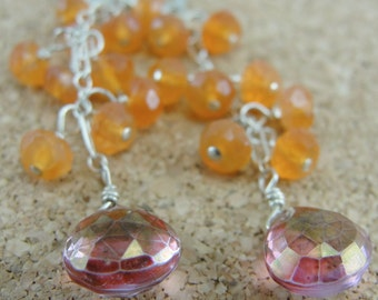 Carnelian and Mystic Pink Quartz Cluster Cascade Earrings by Screaming Peacock Jewelry