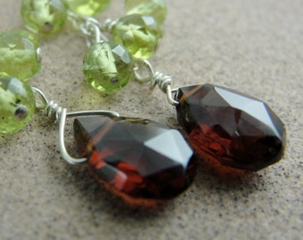 Garnet and Peridot Cluster Cascade Earrings by Screaming Peacock Jewelry