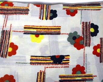 Vintage polyester flowered fabric