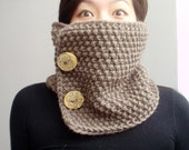 Taupe wood button cowl, clay cowl with buttons hand knit