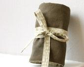 Crochet hook case, Moss linen/ woodland print