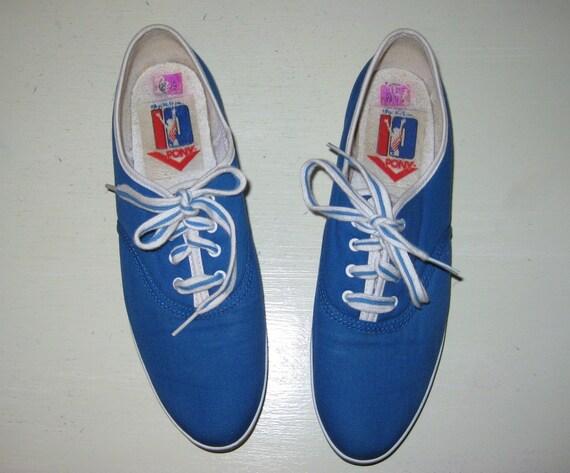 Size 8.5 Retro PONY Sneakers. 1980s Mary Lou Retton Edition. Blue. Striped Laces. Vintage.