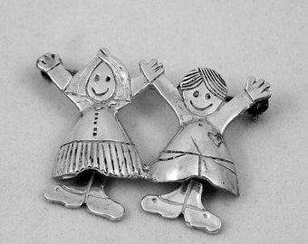Boy and Girl Sterling Silver Pin - Brooch