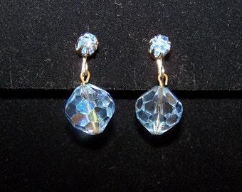 Blue Faceted Bead Earrings
