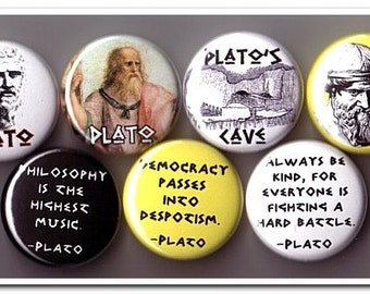 PLATO buttons pins badges philosophy, greek, socrates, aristotle, philosopher