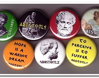 ARISTOTLE buttons pins badges philosophy, greek, plato, socrates, aristotle, philosopher