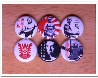 MISHIMA YUKIO buttons pins badges Confessions of a Mask / The Temple of the Golden Pavilion / tatenokai / japanese literature / japan