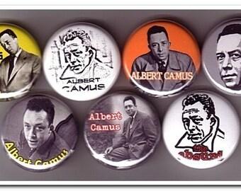 ALBERT CAMUS PINS buttons, badges, philosophy, absurdism, sisyphus, the stranger, the rebel
