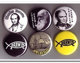 CHARLES DARWIN buttons, pins, badges, naturalist, origin of species, hms beagle,