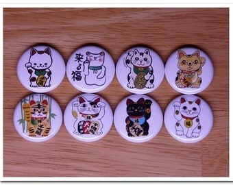 MANEKI NEKO buttons pins badges pinback japan,japanese,good luck,