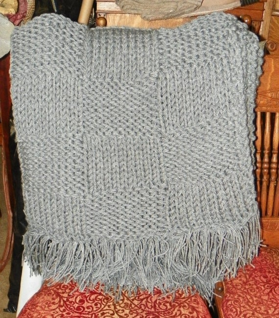 dark gray knitted afghan throw blanket by stickyard on etsy. Black Bedroom Furniture Sets. Home Design Ideas