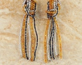 Beaded Earrings - Silver and Gold