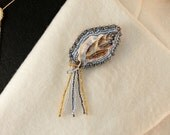 Beaded Brooch - Silver and Gold Seashell