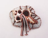 """Beaded Brooch - """"Sliced Brown and White"""""""