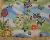 Cat Quilt  Mat Magic Carpet - Colorful Cat Fantasy Print with Yellow Faux Fur