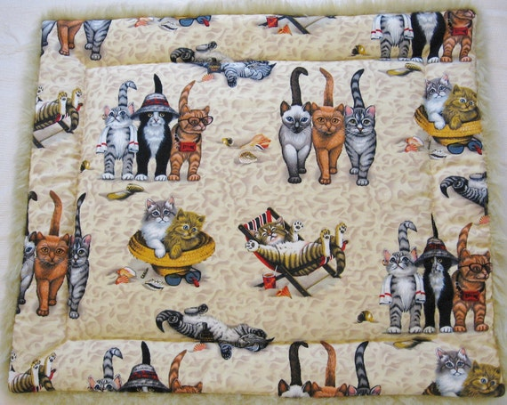 Cat Quilt Magic Carpet Kittens at the Beach with Lion Fur