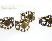 Filigree Ring Blanks - 4pcs - Antiqued Brass