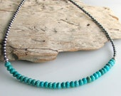 Turquoise Necklace with Sterling Silver, Handmade Turquoise Stone Choker on Beaded Sterling Chain, Last One and Ready to Ship