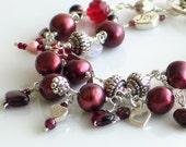 Red Pearls, Garnets, Hearts, Love Charm bracelet